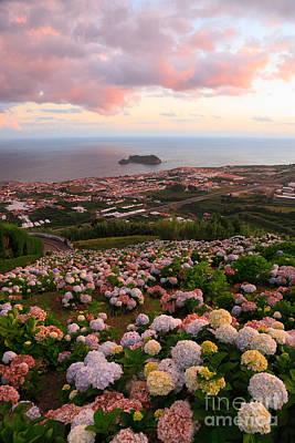 Gaspar Avila Photograph - Azorean Town At Sunset by Gaspar Avila