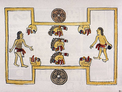 Precolumbian Photograph - Aztec Ball Game by Granger