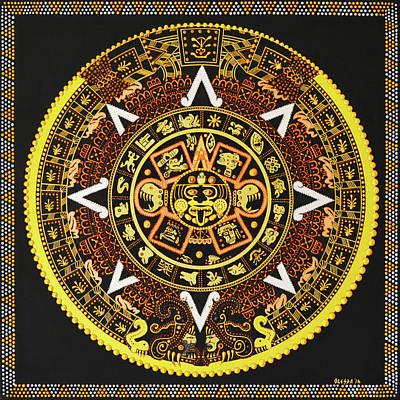 Painting - Aztec Calendar - Spirits Of Aztec by Olesea Arts