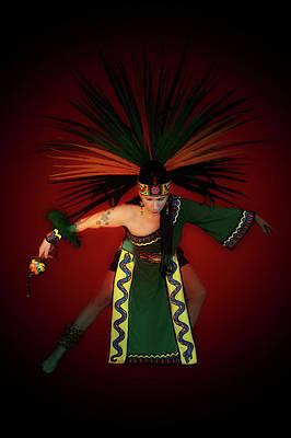 Mexican Dance Digital Art - Aztec Dancer by Jeff Burgess