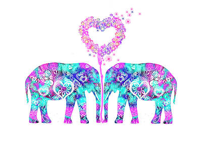 Painting - Aztec Elephants In Love by MelOn Design
