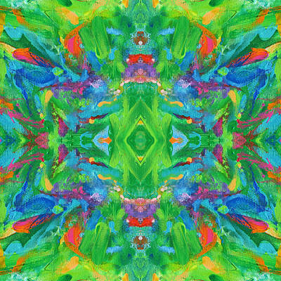 Mexican Tapestry Digital Art - Aztec Kaleidoscope - Pattern 001 by Julie Turner