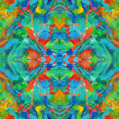Mexican Tapestry Digital Art - Aztec Kaleidoscope - Pattern 005 by Julie Turner