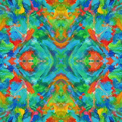 Mexican Tapestry Digital Art - Aztec Kaleidoscope - Pattern 006 by Julie Turner