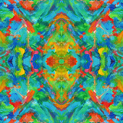 Mexican Tapestry Digital Art - Aztec Kaleidoscope - Pattern 008 by Julie Turner