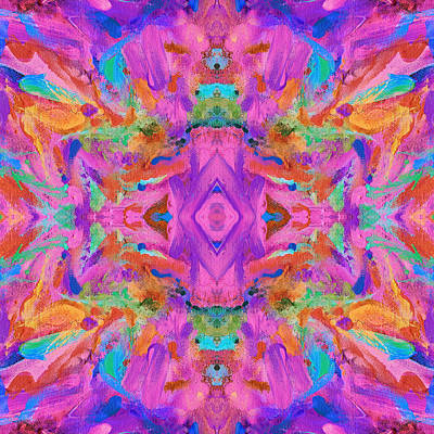 Mexican Tapestry Digital Art - Aztec Kaleidoscope - Pattern 009 by Julie Turner