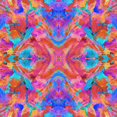 Mexican Tapestry Digital Art - Aztec Kaleidoscope - Pattern 014 by Julie Turner