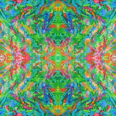 Mexican Tapestry Digital Art - Aztec Kaleidoscope - Pattern 017 by Julie Turner