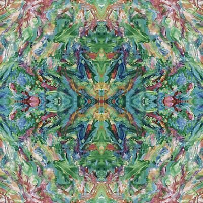 Mexican Tapestry Digital Art - Aztec Kaleidoscope - Pattern 018 - Earth by Julie Turner