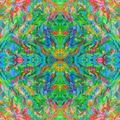 Mexican Tapestry Digital Art - Aztec Kaleidoscope - Pattern 018 by Julie Turner
