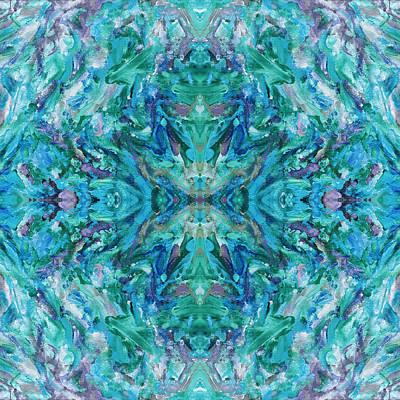 Mexican Tapestry Digital Art - Aztec Kaleidoscope - Pattern 018 - Ocean by Julie Turner