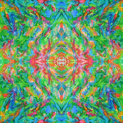 Mexican Tapestry Digital Art - Aztec Kaleidoscope - Pattern 020 by Julie Turner