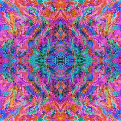Mexican Tapestry Digital Art - Aztec Kaleidoscope - Pattern 024 by Julie Turner