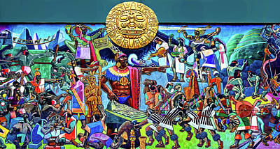 Photograph - Aztec Mural by Maria Coulson