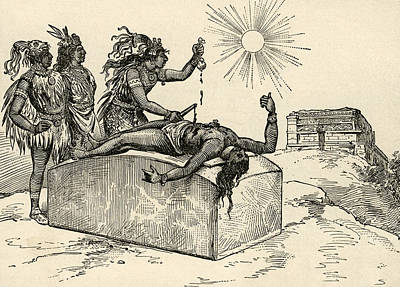Sun Drawing - Aztec Priest Performing Sacrifice by American School