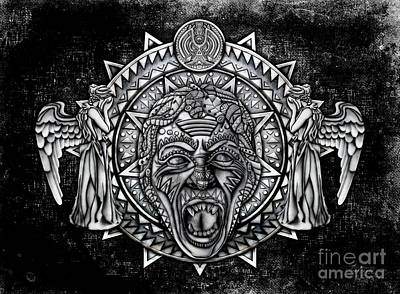Angel Blues Drawing - Aztec Screaming Angel by Three Second