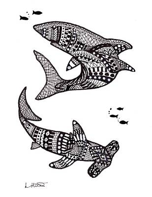 Aztec Sharks Art Print