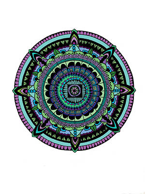 Circles Drawing - Azteca by Elizabeth Davis