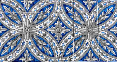 Garden Fruits - Azulejo - Blue Floral Decoration  by AM FineArtPrints
