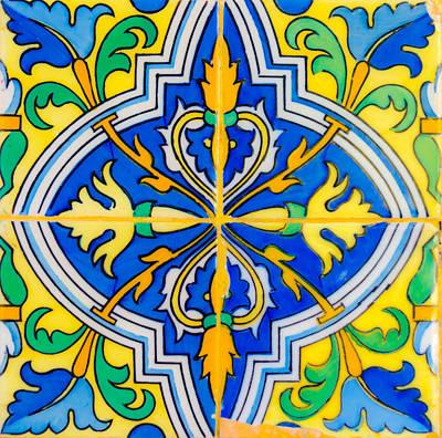 Photograph - Azulejo - Floral Decoration 3 by Andrea Mazzocchetti