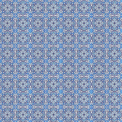 Digital Art - Azulejo Floral Pattern - 05 by Andrea Mazzocchetti