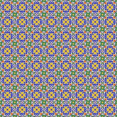 Digital Art - Azulejo Floral Pattern - 10 by Andrea Mazzocchetti