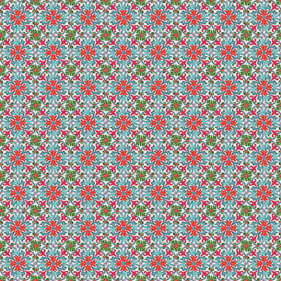 Digital Art - Azulejo Floral Pattern - 11 by Andrea Mazzocchetti