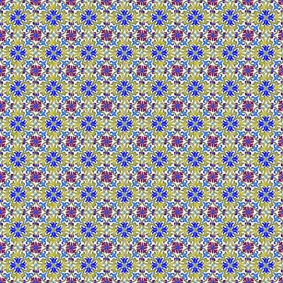 Digital Art - Azulejo Floral Pattern - 12 by Andrea Mazzocchetti