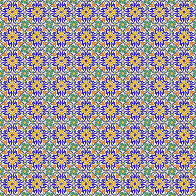Digital Art - Azulejo Floral Pattern - 13 by Andrea Mazzocchetti