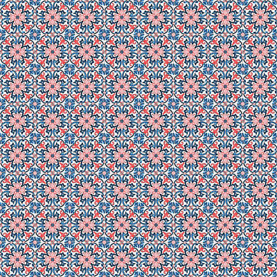 Digital Art - Azulejo Floral Pattern - 15 by Andrea Mazzocchetti