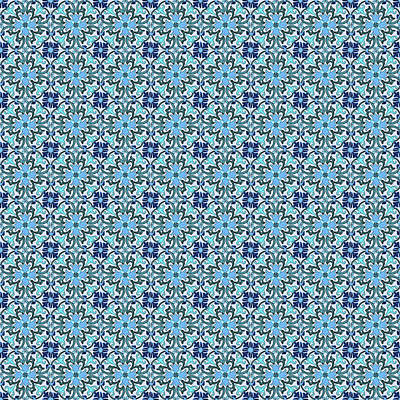 Digital Art - Azulejo Floral Pattern - 16 by Andrea Mazzocchetti