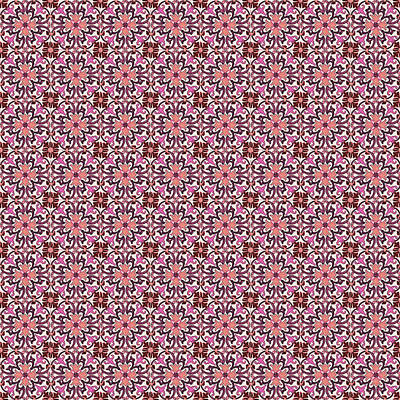 Digital Art - Azulejo Floral Pattern - 17 by Andrea Mazzocchetti