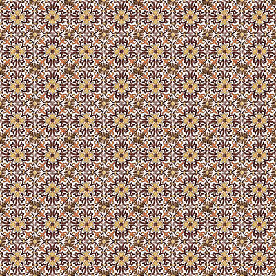 Digital Art - Azulejo Floral Pattern - 19 by Andrea Mazzocchetti