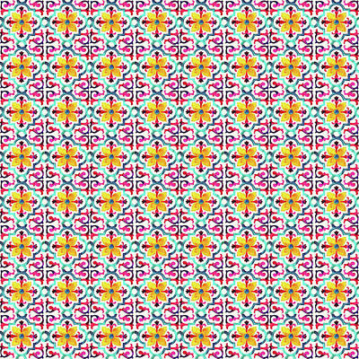 Digital Art - Azulejo Floral Pattern - 21 by Andrea Mazzocchetti