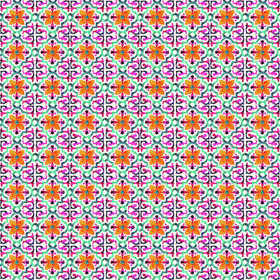Digital Art - Azulejo Floral Pattern - 22 by Andrea Mazzocchetti