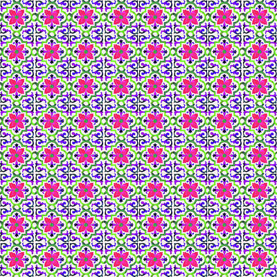 Digital Art - Azulejo Floral Pattern - 23 by Andrea Mazzocchetti