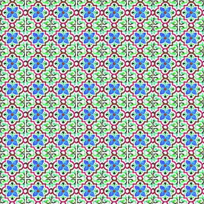 Photograph - Azulejo Floral Pattern - 26 by Andrea Mazzocchetti