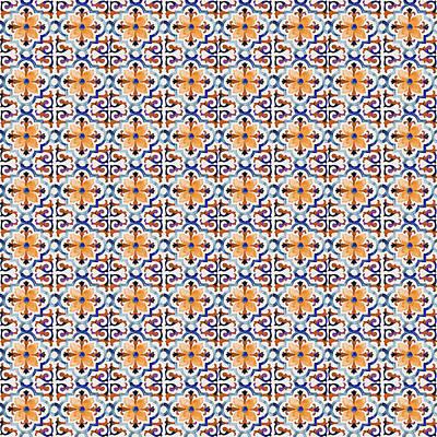 Photograph - Azulejo Floral Pattern - 28 by Andrea Mazzocchetti