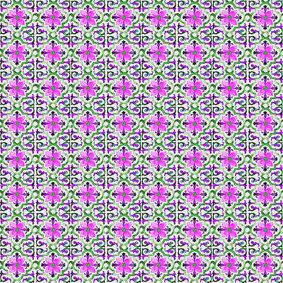 Digital Art - Azulejo Floral Pattern - 29 by Andrea Mazzocchetti