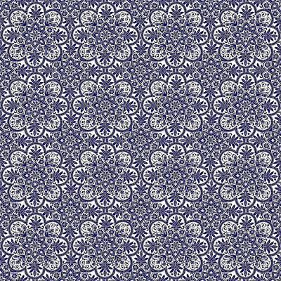 Digital Art - Azulejo Floral Pattern - 31 by Andrea Mazzocchetti