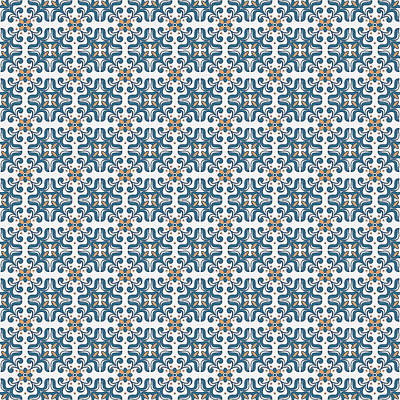 Painting - Azulejo Floral Pattern - 41 by Andrea Mazzocchetti