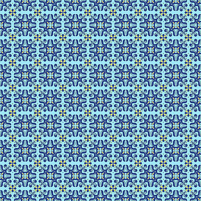 Painting - Azulejo Floral Pattern - 44 by Andrea Mazzocchetti
