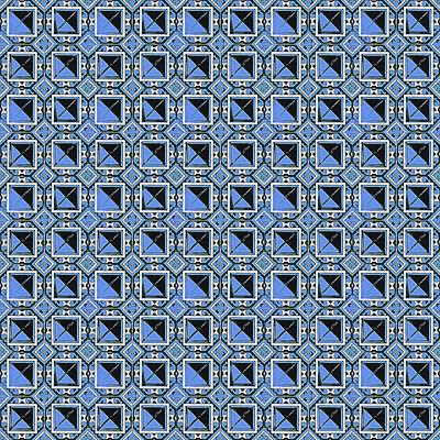 Digital Art - Azulejo, Geometric Pattern - 07 by Andrea Mazzocchetti