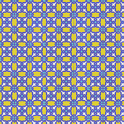 Painting - Azulejo, Geometric Pattern - 12 by Andrea Mazzocchetti