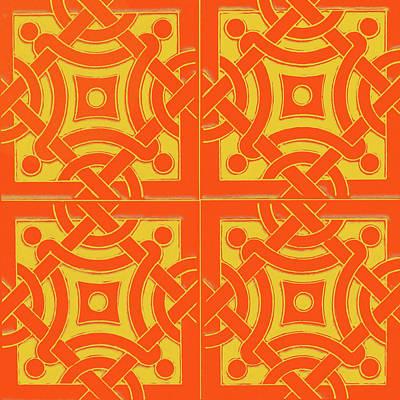 Mixed Media - Azulejo, Geometric Pattern - 13 by Andrea Mazzocchetti