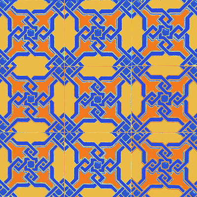 Digital Art - Azulejo, Geometric Pattern - 15 by Andrea Mazzocchetti