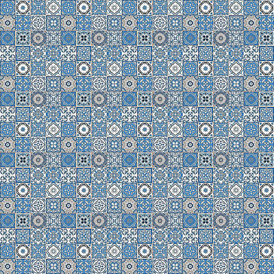 Digital Art - Azulejo, Geometric Pattern - 21 by Andrea Mazzocchetti