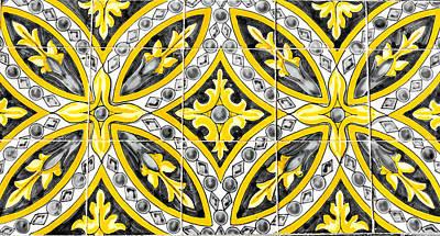 Photograph - Azulejo - Yellow Floral Decoration  by Andrea Mazzocchetti
