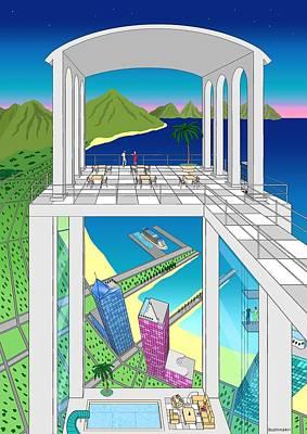 Futurism Architecture Wall Art - Digital Art - Azure Bay by Mikhail Buzhinskiy