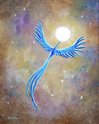 Azure Blue Phoenix Rising Original by Laura Iverson